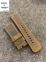 28/24mm Handmade Suede Brown Calf Leather Strap for All Sevenfriday Models