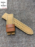 23/23mm Handmade Military Brown Canvas Leather Strap for Tudor BlackBay Bronze Models