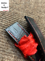 24/24mm Customized Black Alligator with Red Stitching and Red Hornback Keeper