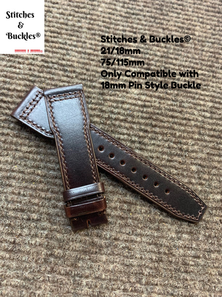 21/18mm Dark Chocolate Calf Leather Strap for IWC 3717/3777 Pilot Chronograph