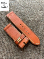 26/26mm Vintage Distressed Handmade Red Calf Leather Watch Strap