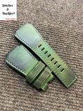 24/24mm Handmade Green Calf Leather Strap For Bell & Ross 01/03 Models