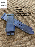 24/24mm Handmade Vintage Blue Calf Leather Watch Strap