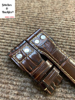 22/18mm Riveted Burgundy Alligator Embossed Calf Leather Watch Strap for IWC Big Pilot Clasp Models