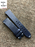 20/18mm Vintage Dark Navy Blue Calf Leather Strap