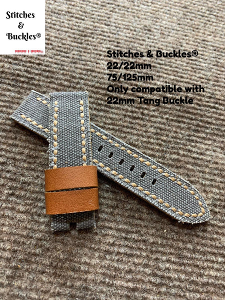 22/22mm Handmade Vintage Grey Canvas Calf Leather Strap