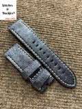 24/24mm Silver Blue Calf Leather Strap