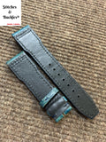 21/18mm Unique Blue Calf Leather Strap for IWC 3717/3777 Pilot Chronograph Models
