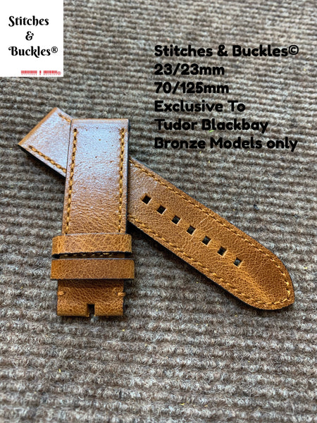 23/23mm Vintage Brown Calf Leather Strap for Tudor BlackBay Bronze Models