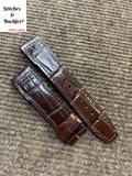 21/18mm Burgundy Alligator Embossed Calf Leather Strap for IWC 3717/3777 Pilot Chronograph