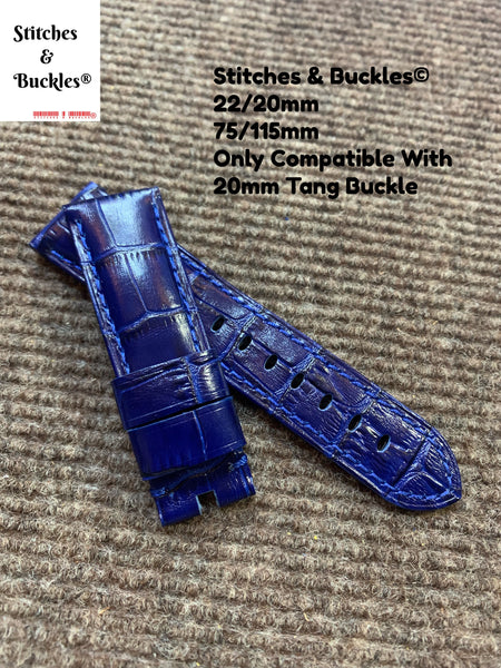 22/20mm Blue Alligator Embossed Calf Leather Watch Strap