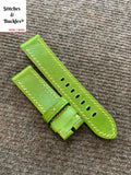 22/22mm Bright Green Calf Leather Watch Strap