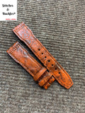 21/18mm Unique Red Calf Leather Strap for IWC 3717/3777 Pilot Chronograph Models