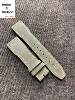 21/18mm Vintage Grey Calf Leather Watch Strap for IWC 3717 / 3777 Pilot Chronograph Models