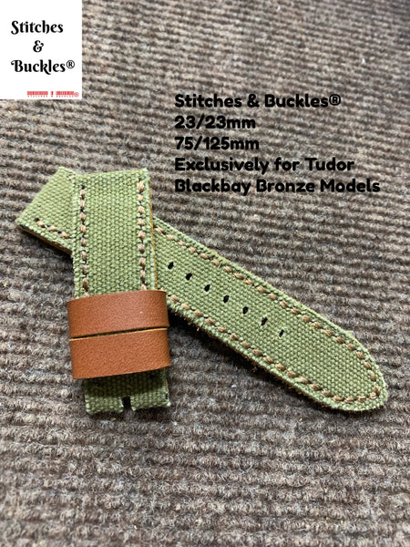 23/23mm Handmade Military Green Canvas Leather Strap for Tudor BlackBay Bronze Models
