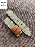 22/22mm Vintage Handmade Khaki Canvas Watch Strap