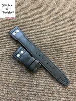 22/18mm Riveted Black Calf Leather Watch Strap for IWC Big Pilot Clasp Models
