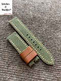 22/22mm Handmade Vintage Military Green Canvas Calf Leather Strap