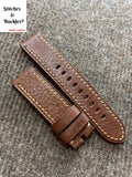 22/22mm Textured Brown Calf Leather Watch Strap