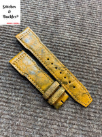 21/18mm Unique Yellow Calf Leather Strap for IWC 3717/3777 Pilot Chronograph