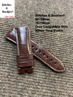 26/22mm Handmade Brown Genuine Alligator Strap For Panerai Radiomir & 47mm Luminor/Submersible