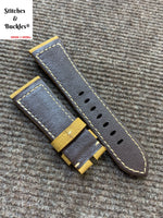 26/22mm Light Brown Suede Calf Leather Strap For Panerai Radiomir & 47mm Luminor/Submersible