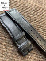 21/18mm Black Calf Leather Strap for IWC 3717/3777 Pilot Chronograph