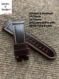 24/22mm Burgundy Raw Edge Calf Leather Strap for Panerai 44mm Models