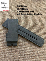 28/24mm Handmade Suede Black Calf Leather Strap for All Sevenfriday Models