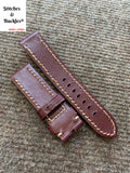 22/22mm Maroon Calf Leather Watch Strap