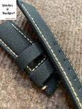 24/22mm Black Canvas Leather Watch Strap For Panerai 44mm Luminor/Submersible Models