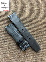 21/18mm Black Alligator Embossed Calf Leather Strap for IWC 3717/3777 Pilot Chronograph Models
