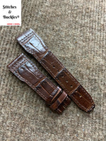 22/18mm Burgundy Aligator Embossed Flieger Style Calf Leather Strap
