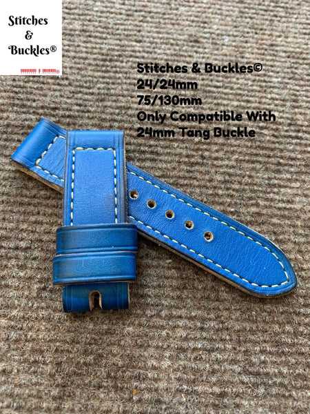 24/24mm Vintage Handmade Blue Calf Leather Watch Strap