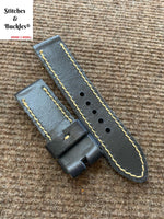 24/24mm Vintage Handmade Black Calf Leather Watch Strap