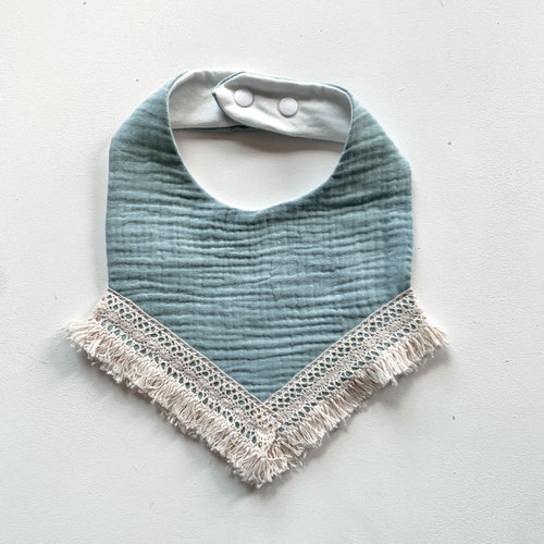 Lace trim bib  - Sea green