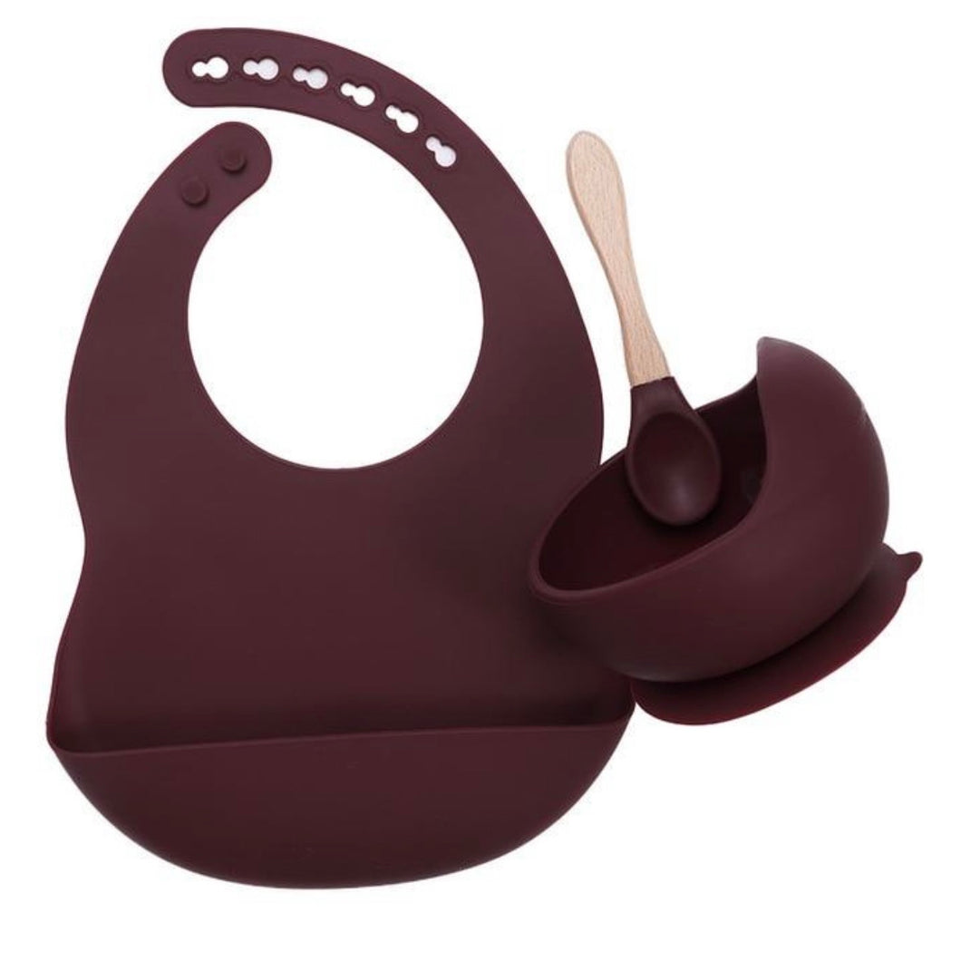 Silicone feeding set Burgundy