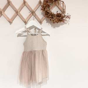 Linen and tulle dress - pink