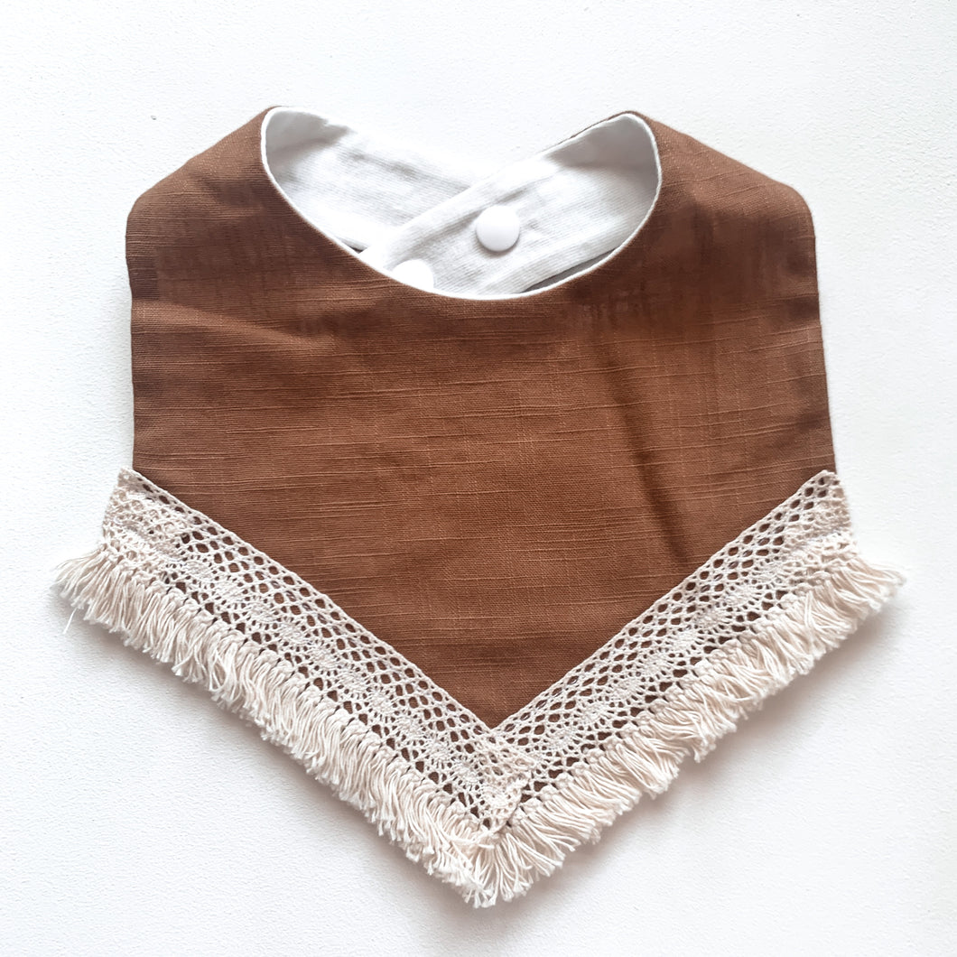 Lace trim bib  - Tan