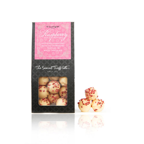 Raspberry & Champagne White Chocolate Truffles