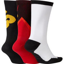 Load image into Gallery viewer, Nike SB Everyday Max Lightweight Crew Socks 3-Pack Black Yellow Red