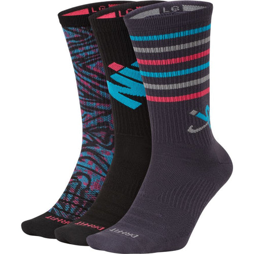 Nike SB Everyday Max Lightweight Crew Socks 3-Pack Grey Blue Pink