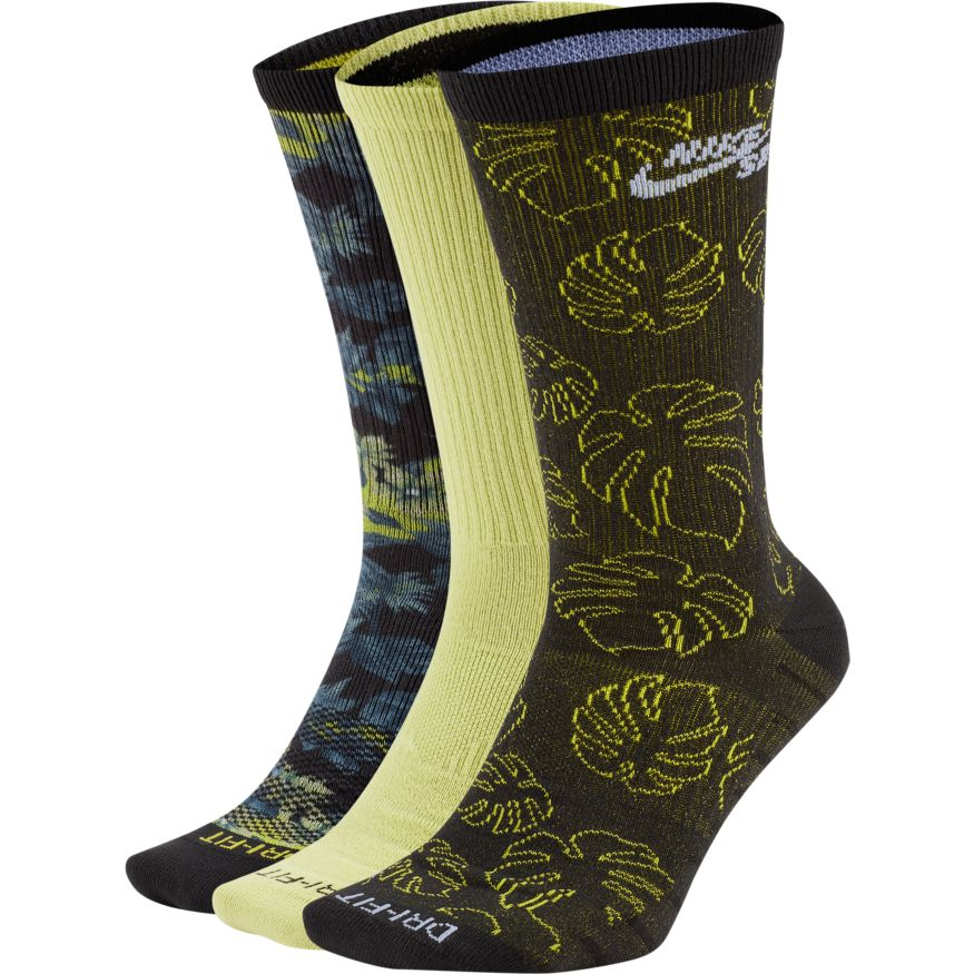 Nike SB Everyday Max Lightweight Skate Crew Socks (3 Pairs) Multi-Color