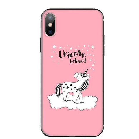 Coque Licorne <br> iPhone Protection Rose - La Licorne Ailée
