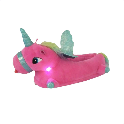 Chaussons Licorne LED rose
