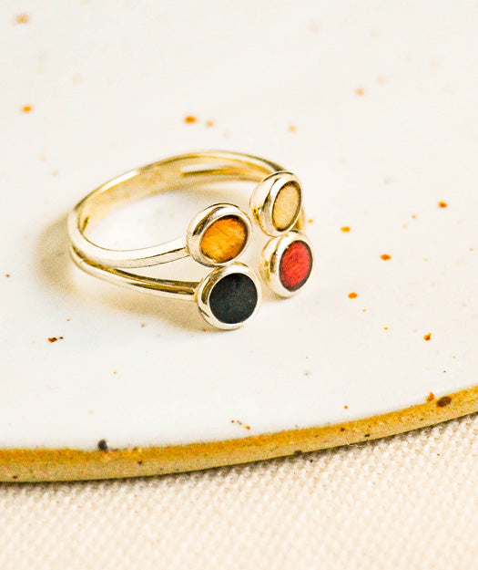 Wood and Silver Ring | Four colors