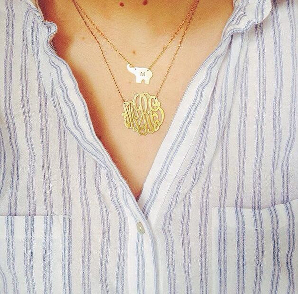 Moon and Lola Gold Filled Cutout Monogram Necklace Apparel & Accessories > Jewelry > Necklaces - 13