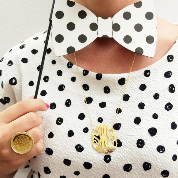 Moon and Lola Gold Filled Cutout Monogram Necklace Apparel & Accessories > Jewelry > Necklaces - 10