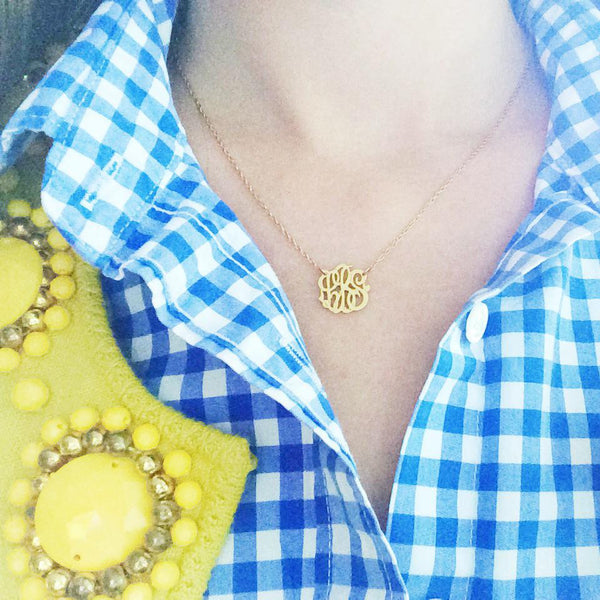 Moon and Lola Gold Filled Cutout Mini Monogram Necklace Apparel & Accessories > Jewelry > Necklaces - 4