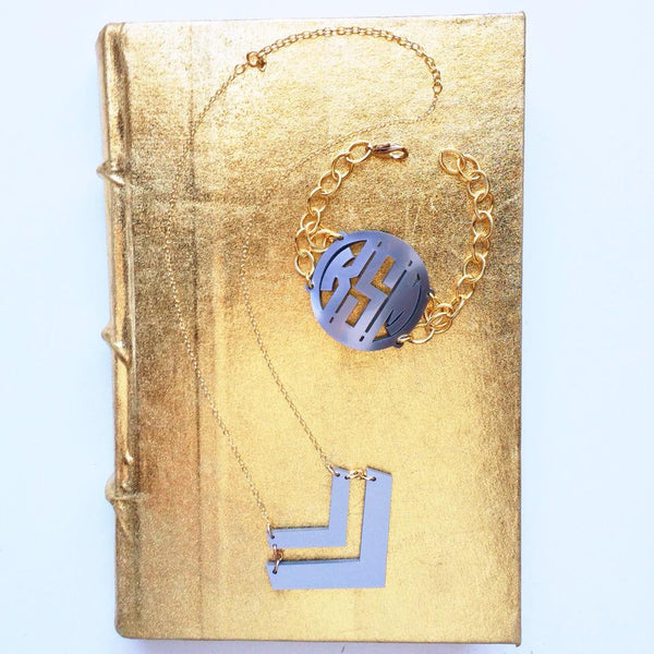 Acrylic Block Monogram Bracelet by Moon and Lola Apparel & Accessories > Jewelry > Bracelets - 3